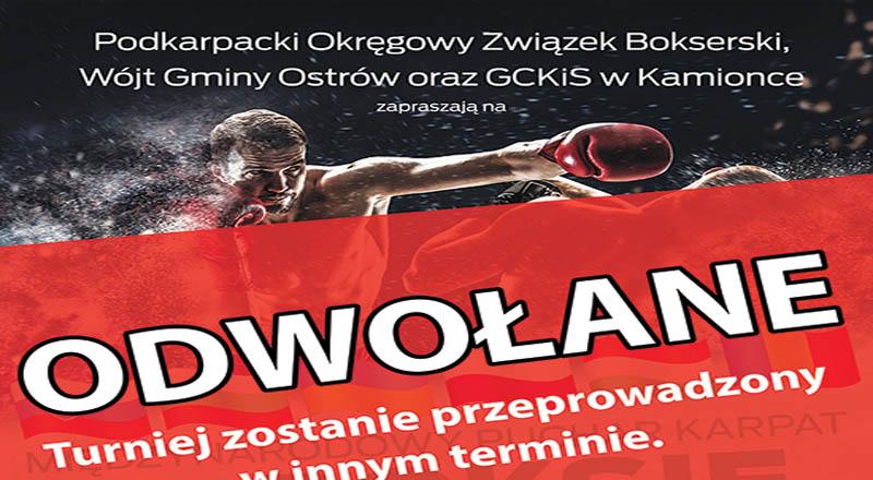 Kolejne wydarzenie odwołane, tym razem Turniej BOKSU w Skrzyszowie